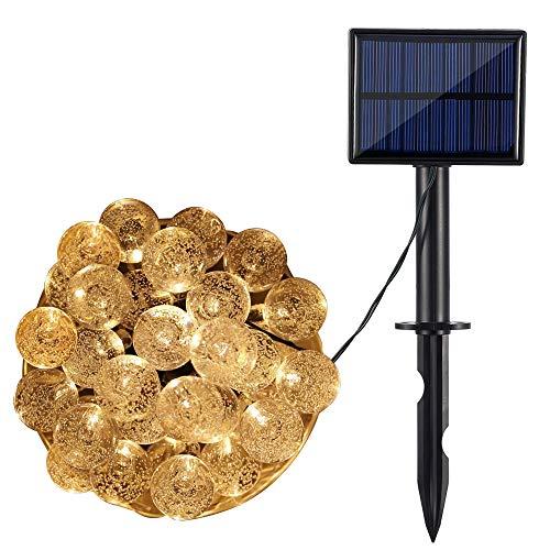 AGM Luces de Cadena Solares, Bolas de Cristal de 30/50/60 LED, 8 Modos de Iluminación, IP65 a Prueba de Agua con Panel Solar de 2V 120mAh, para Decoración del Hogar | Exterior [Clase energética A+++]