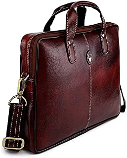 Wildhorn Genuine Leather Messenger Bag, Stylish 13 Inches Laptop Bag with Storage and Padded Compartments, Brown, 35 WHMB5...