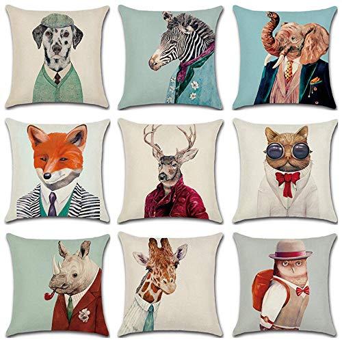 Funda Cojin Exterior Mr.New Animal Es Una Funda De Cojín De Lino Creativa 45X45Cm Funda De Almohada Decoración del Hogar Funda De Almohada Sofá Coche-45X45Cm Solo Cubierta_13