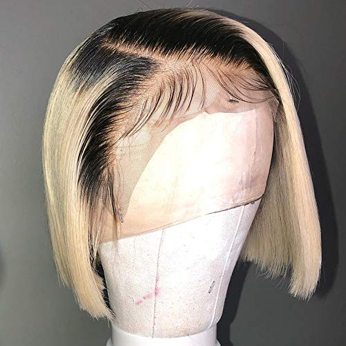 ANDRIA 12 Inch Short Bob Wigs Lace Front Wigs Ombre Blonde Straight Bob Glueless Full Wigs For Black Women Synthetic Natural Straight Wig Heat Resistant Fiber Hair Wig With Baby Hair