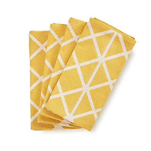 søstre & brødre 4er Set Geschirrtücher Küchentücher im modernen Streifen-Design   Made IN EU   100% Baumwolle - ÖKO-TEX Standard 100   50 x 70 cm Mustard