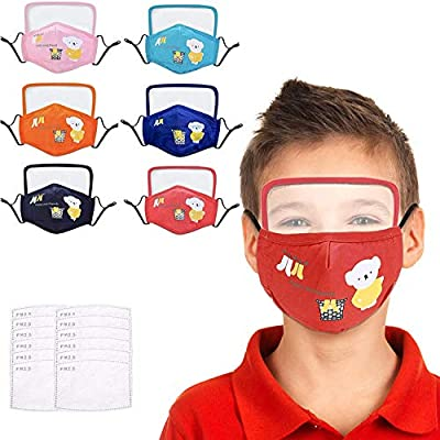 COOLINKO Kids Eye Shield Face Protection with 2 Activated Carbon PM2.5 Filter Valve and Adjustable Ear Loop Bands - Fashion Cotton Mouth Head Accessory (6 Pack Assorted) from COOLINKO