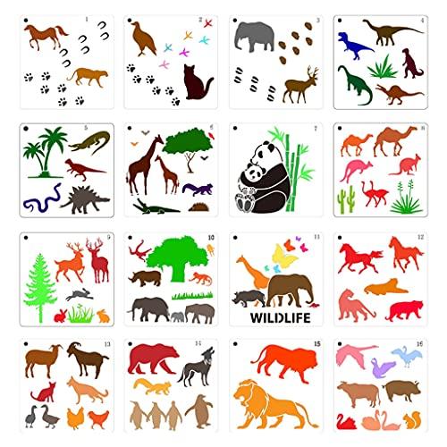 Xuebai Plantilla de pintura de animales DIY con diseño de vida silvestre plantilla de dibujo reutilizable 16 piezas 15 x 15 cm plantilla de pintura animal blanco leche y transparente