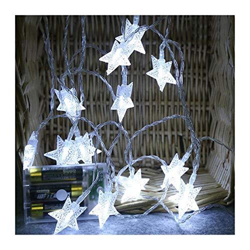 MUZIWENJU LED Lichterketten String Garland Stern Indoor Lichterkette Twinkle Garlands Batterie USB-Dekor-Weihnachtsweihnachtsfeiertags-Partei-Hochzeit (Farbe : Weiß, Größe : 3M 20LED)