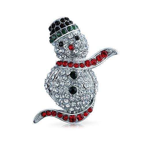 Bling Jewelry Winter Rot Schwarz Pflaster Kristall Urlaub Weihnachten Schneemänner Brosche Pin Für Frauen Silber Vergoldet