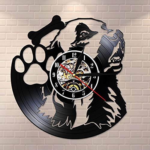 Reloj de Pared de Hueso de Perro con Pata de Perro de 7 Colores Hecho de Registro de Vinilo Real Tienda de Mascotas para Cachorros sin tictaclámpara de ParedDecorativa para Colgar en laPared