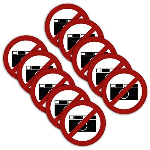 Strobo - 10 pegatinas XXL para prohibir fotografías, diámetro de 21 cm, con protección UV para exterior e interior
