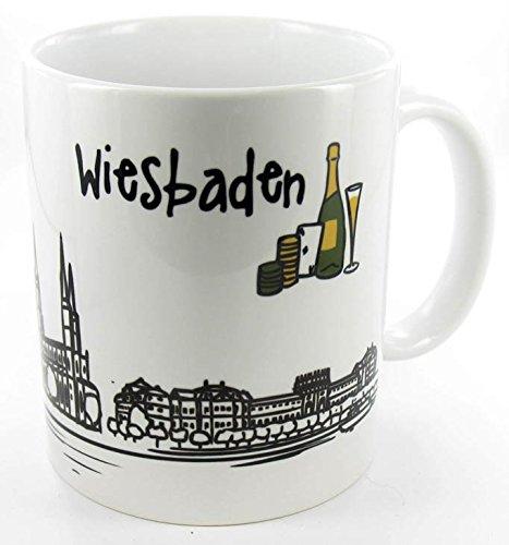 die stadtmeister Keramiktasse Skyline Wiesbaden - als Geschenk für Wiesbadener & Fans Wiesbadens oder als Souvenir