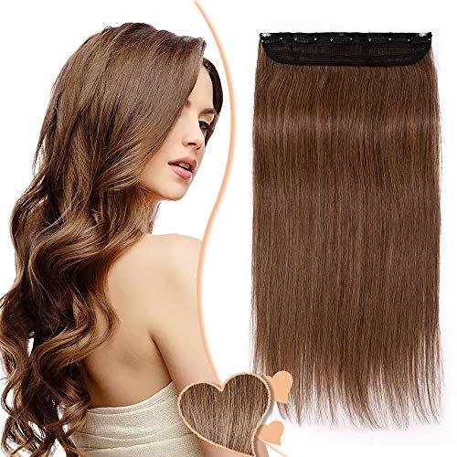 Elailite Haarteile Clip in Haarverlängerung Echthaar 3/4 Full Head Extensions 1 Teil 5 Klammern 14