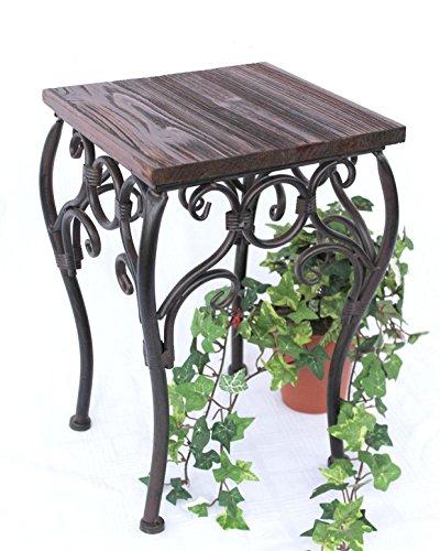 DanDiBo Blumenhocker Metall Braun Eckig 34 cm Blumenständer 12593 Beistelltisch Pflanzenständer Klein Holzablage