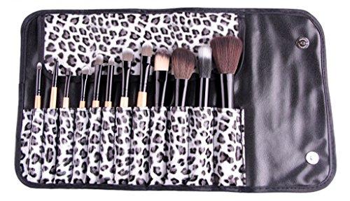 Cexin couleur de bois professionel 12 pinceaux de maquillage équis avec trousse