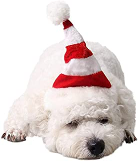 PRETYZOOM Dog Cat Pet Striped Santa Hat Christmas Hat Christmas Costume for Puppy Kitten Small Cats Dogs Pets (S Size)