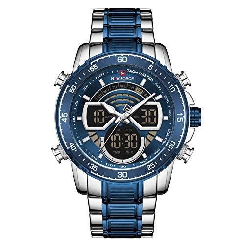 Moniel Quartz Digital Eletrônico Masculino Relógio Dual Time Modo Data Semana Visor Despertador Retroiluminação 3ATM Impermeável Masculino Moda Relógios Esportivos Pulseira para o dia-a-dia