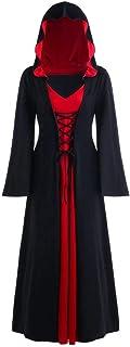 INLLADDY Kleid Damen Gothic Kapuzenkleid Retro Umhang Robe K