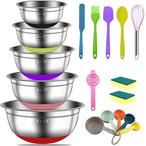Mixing Bowls - IELECMG 18Pcs 304 Stainless Steel Large Nesting Colorful Metal Kitchen Aid Mixing Bowls Set with Silicone Bottom & 5 Size - 7.5, 5, 3.5, 2, 1QT, for Baking, Serving, Food Prep (No Lids)