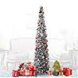 QTIVY 5 Foot Pop Up Christmas Trees with Shiny Silver Color Pieces Collapsible Easy-Assembly Artificial Tinsel Tree for Home & Party & Office & Fireplace Décor (5FT POP Silver Color)