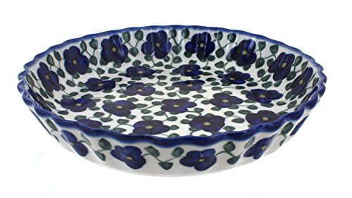 Blue Rose Polish Pottery Violets Pie Plate