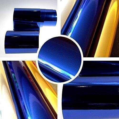 TipTopCarbon 13,14€/m² Chrom Autofolie Blau 0,3m x 1,52m Auto Folie BLASENFREI mit Luftkanälen 3D Flex