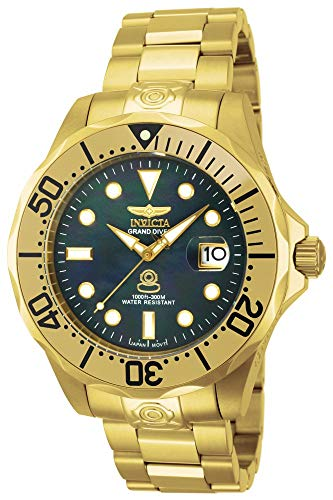 Invicta Men's 13940 Pro Diver Black Mother of Pearl Dial Gold Tone Bracelet Watch