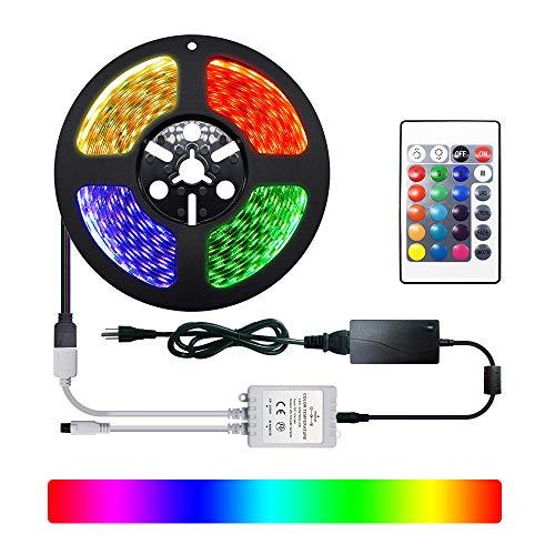 RGB LED Streifen Licht LED Leiste,DC24V IP65 Dimmbar LED Strip 5M Full Kit,300 SMD 5050 LEDs Lichtband,Wasserdicht Lichtleiste LED Bänder mit Netzeil