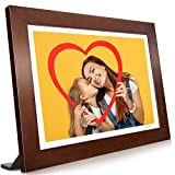 VANKYO WiFi Digital Photo Frame, 10.1 inch Touch Screen, 1920X1200 Full HD IPS Display, Motion Sensor, Instant Share Pictures and Videos via App, Email, Cloud, Auto-Rotate, 16GB Storage, Music, Wood