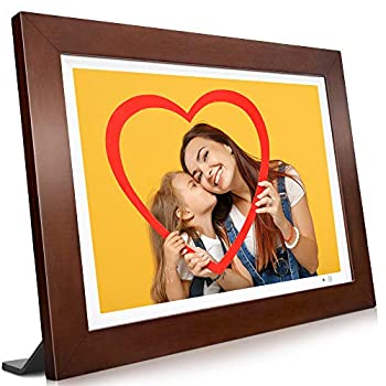 VANKYO WiFi Digital Photo Frame 10.1 inch Touch Screen 1920X1200 Full HD IPS Display Motion Sensor Instant Share Pictures and Videos via App Email Cloud Auto-Rotate 16GB Storage Music Wood