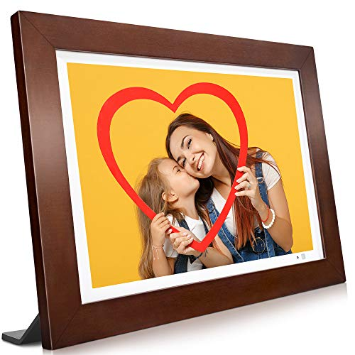 WiFi Digital Picture Frame, 10.1 inch Touch Screen, 1920X1200 Full HD IPS Display, Motion Sensor, Instant Share Pictures and Videos via App, Email, Cloud, Auto-Rotate, 16GB Storage, Wood