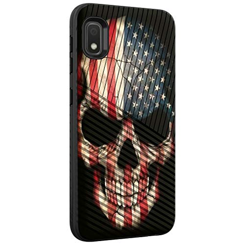 TurtleArmor | Compatible with Samsung Galaxy A10e Case | Galaxy A20e Case | Slim Dual Layer TPU Hard Armor Hybrid Engraved Grooves Shell Case - US Flag Skull