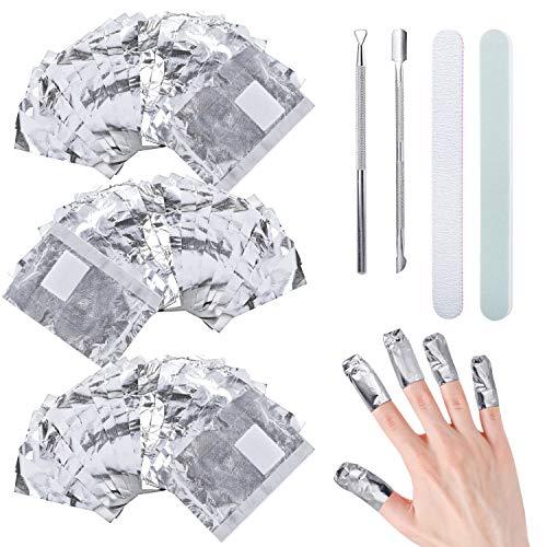 300pcs Feuille d'aluminium Dissolvant, Ultra-minces aluminium vernis semi permanent pour retirer vernis à ongles, Paquet Papillotes Ongles d'Aluminium avec bande de lime à ongles & poussoir cuticules