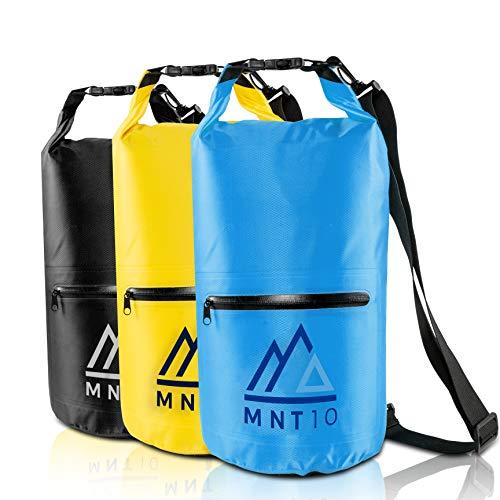 MNT10 Bolsa impermeable con correa de transporte, impermeable en 10 l o 20 l, bolsa impermeable para viajes, exteriores y camping, resistente y resistente (azul, 10 L)