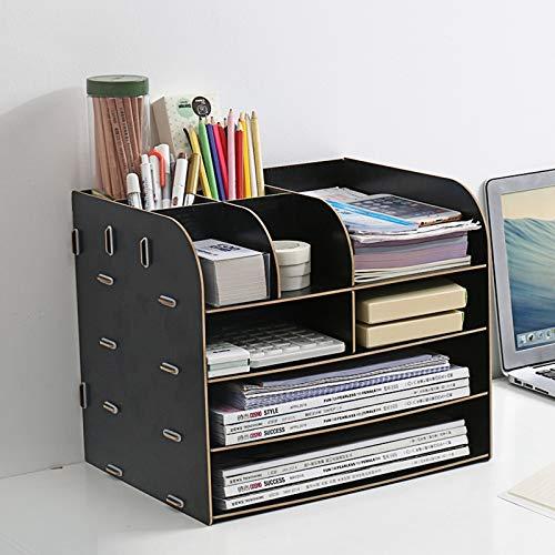 Organizador de escritorio de madera, multifunción, organizador de libros y revistas, bandeja para cartas, caja de almacenamiento con cajón (negro)