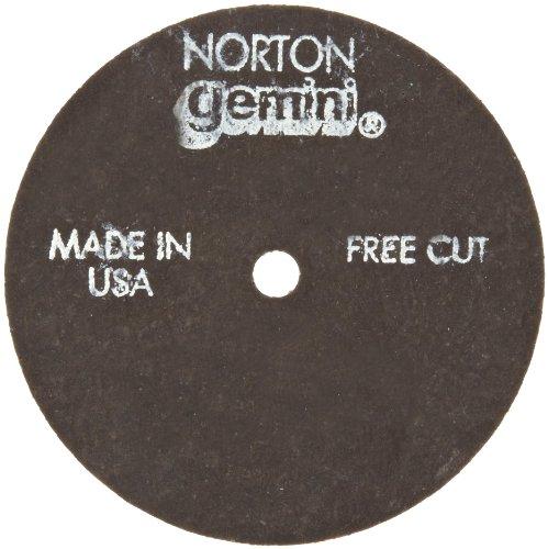Norton Gemini Fast Cut Small Diameter Reinforced Abrasive Flat Cut-off Wheel, Type 01, Aluminum Oxide, 1/4