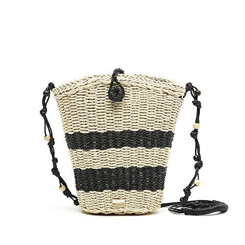 MISAKO Bolso Rafia Mujer SOON | Bolso Pequeño de Paja Blanco Negro de Mano | Bolso Bandolera de Verano para Mujer - 22x25x5cm
