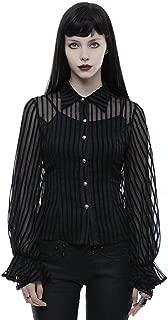 Steampunk - Blusa para Mujer, diseño de Rayas Transparentes, Estilo Victoriano