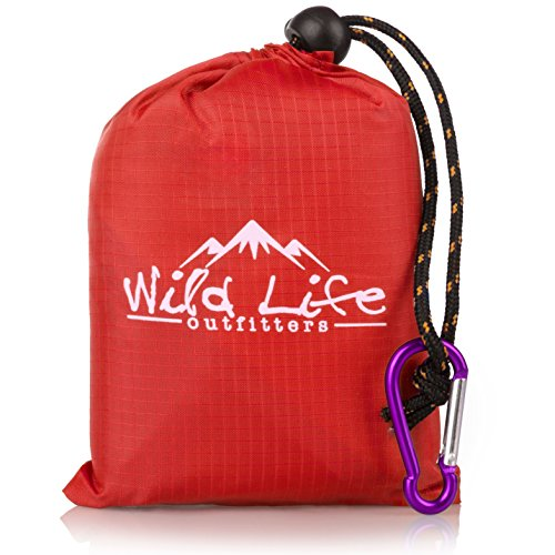 Compact Portable Kanga Pocket Blanket: Packable Outdoor Blankets for Camping - Sand Proof Beach Blanket & Water Resistant Picnic Blanket - Red Mat With Carabiner Clip Carrying Pouch - 55 x 44