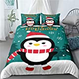 PATATINO MIO Kids Childern Duvet Cover 3D Microfiber Penguin with Christmas Hat Printed Happy Holiday Christmas Bedding Set for Boys Girls Full Size with 1 Duvet Cover 2 Pillow ShaM No Comforter
