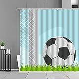 GHDFEY DuschvorhangFußball Athleten Duschvorhänge Kreative Fußbälle Home Badezimmer Dekor Vorhang Wasserdichter Display Polyestergewebe Mit Haken