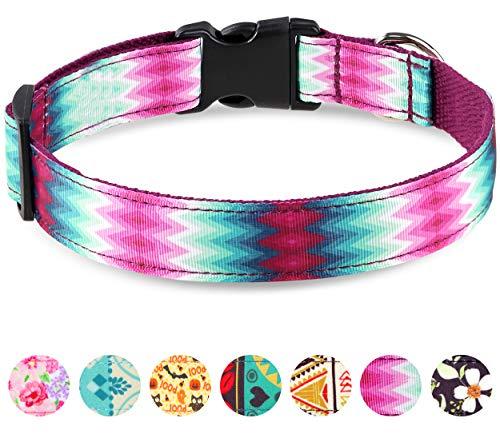Taglory Verstellbares Hundehalsband,Weich & Komfort Hunde Halsband für Mittelgroße Hunde,Lila Pfau