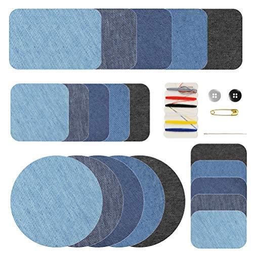 WOWOSS 21 Pezzi Toppe Termoadesive Jeans, 4 Taglie Stoffa Jeans per DIY Vestiti e Pantaloni con 1 Pezzi Kit da Cucito, Toppe su Ferro (5 Colori)