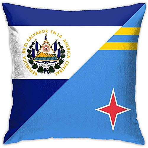 Decoratieve kussensloop EL Salvador Aruba Flag vierkante kussensloop kussensloop voor bank thuis car slaapkamer woonkamer decor