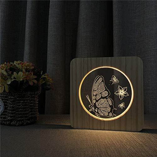Flor de Mariposa acrílico lámpara de Mesa de luz Nocturna de Madera lámpara de Grabado de Control de Control para Amigos Regalo de Ventilador