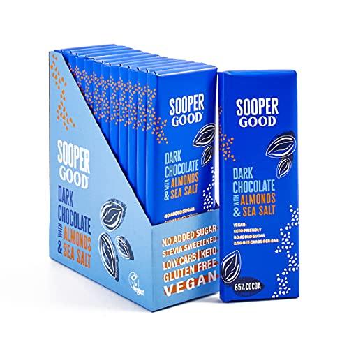 Schokolade ohne Zucker von Soopergood – 65% Kakao mit Mandeln & Meersalz - Vegan – Glutenfrei - Low Carb – mit Stevia gesüßt - Keto Schokolade - Ohne Maltit – 12er Pack mit 40g Riegeln