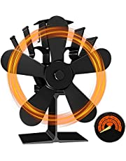 【最新改良版】 Menborn ストーブファン 木製暖炉ファン 火力ファン エコファン 空気循環 5つブレード 薪ストーブ ファン 熱供給用品 暖房用(温度計付き)