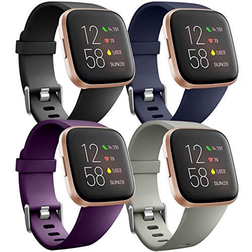 Ouwegaga Pack 4 Bracelet de Remplacement en Silicone pour Fitbit Versa/Fitbit Versa Lite Bracelet/Fitbit Versa 2 Bracelet, Petit Noir/Gris/Bleu/Prune