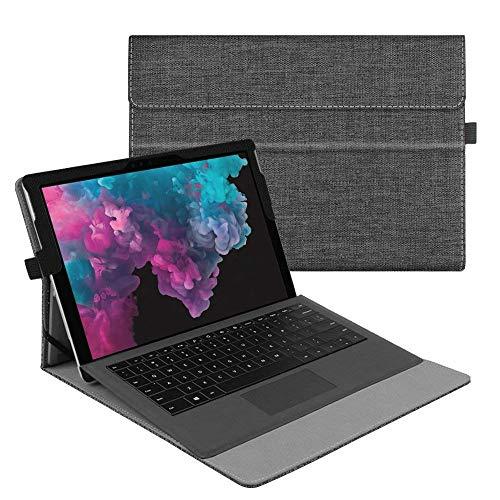 Fintie Hülle für Microsoft Surface Pro 7/ Pro 6/ Pro 5/ Pro 4/ Pro 3 12,3 Zoll Tablet - Multi-Sichtwinkel Hochwertige Tasche Schutzhülle aus Kunstleder, Type Cover kompatibel, Stoff dunkelgrau