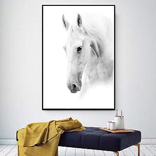 GUDOJK Pintura Decorativa White Horse Wall Art Lienzo Imprime Arte Moderno decoración del hogar para Sala de Estar Dormitorio imágenes Gran Pintura Impresa HD-50x70cm