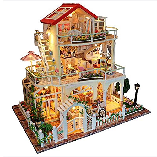 RDJSHOP DIY Dollhouse Kit De Madera, 3D Casa En Miniatura Sin Protección contra El Polvo, Ensamblado Modelo De Casa con Luces LED, 3 Capas Cottage Educativos Juguetes para Niñas