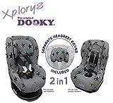 DOOKY Original 2in1 Copri Seggiolino Auto Universale Gruppo 1+ (Grey Stars)
