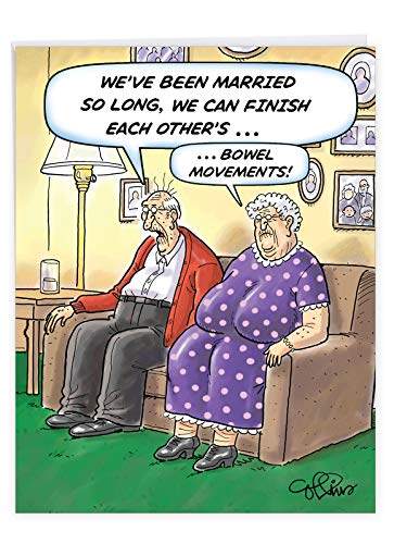 Bowel Movements Funny Anniversary Card with Envelope (Large 8.5 x 11 Inch) - Happy Anniversary Greeting Card for Wife, Husband, Senior Citizens - Cartoon Old Man, Woman Stationery Gift J9748