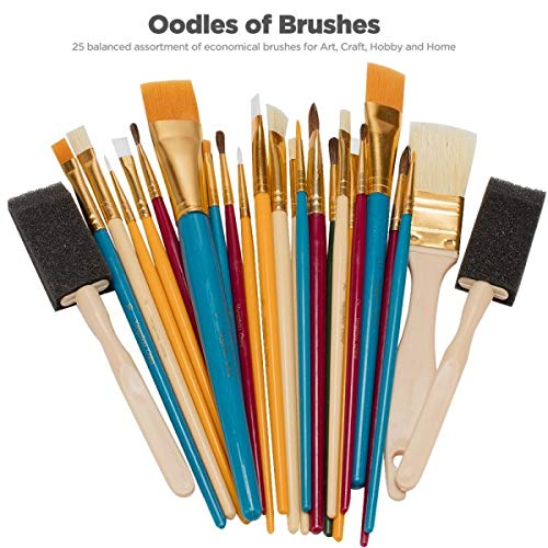 OODLES OF Paint Brushes Kids Art, Paint, Craft & Multiple Mediums, Beginner Artist & Classroom [Set of 25 Assorted Bulk Pack] Perfect For Watercolor, Oil, Acrylic, Tempera Paints & More